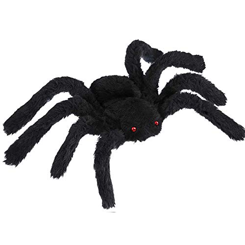 JOZZ Halloween Decorations Black Hairy Spiders,Giant Spider Huge Spider Fake Hairy Spider Toys for Halloween Parties Decor Haunted House Decorations, 12 Inches
