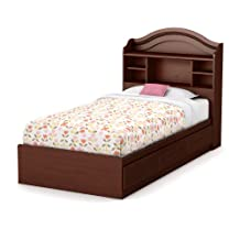 South Shore Furniture Little Treasures Twin Mates Bed with Drawers and Bookcase Headboard 39-Inch Set, Royal Cherry