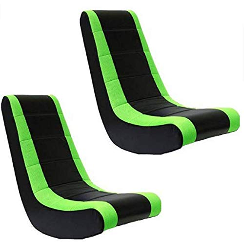 Crew Furniture 51208 Classic Video Rocker (Black/Neon Green, Set of 2)