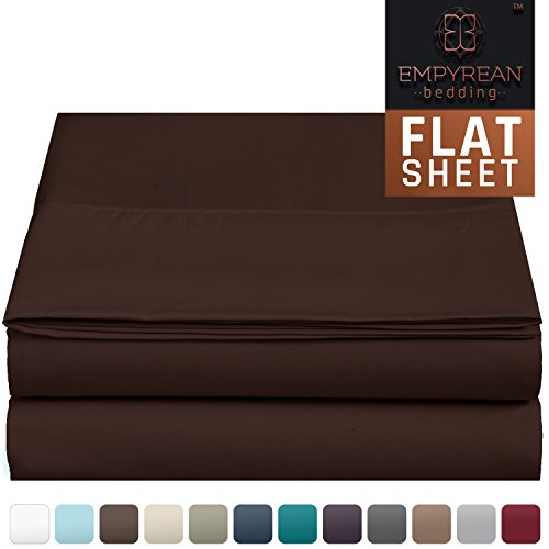 Premium Flat Sheet - Luxurious & Soft Full Size Linen Flat Chocolate Dark Brown Sheets - Hotel Quality Brushed Microfiber (Single) Flat Bed Sheet Hypoallergenic Bedroom Essentials By Empyrean Bedding