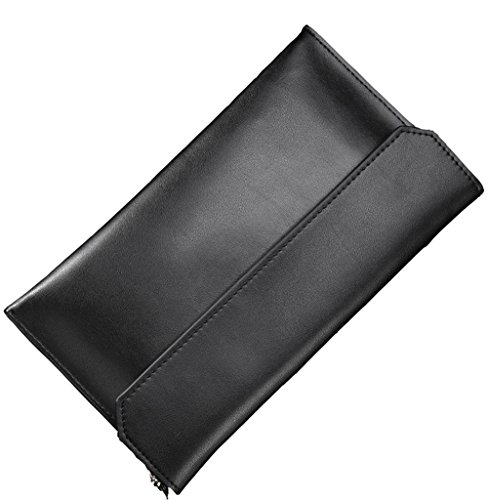 Covelin Women's Wristlet Clutch Handbag Genuine Leather Envelope Evening Shoulder Bags Black (Black Leather Evening Bag)