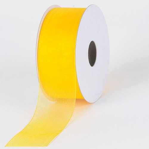 (BBCrafts 7/8 inch x 25 Yards Sheer Organza Ribbon Decoration Wedding Party (Sunflower))