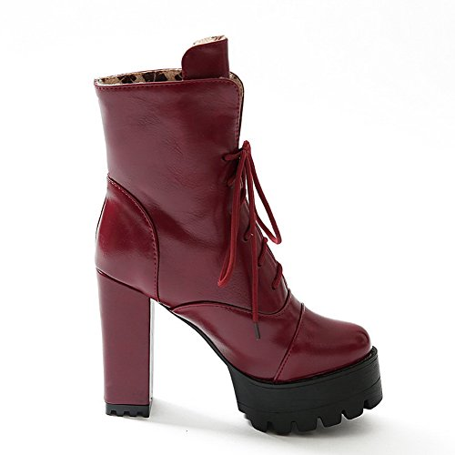 and Women's Closed Round Platform with High Slipping Heels Boots AmoonyFashion Red Toe Sole Toe aBqWBP1
