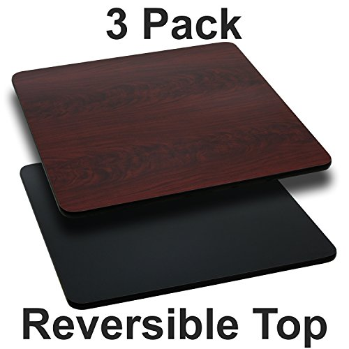 Flash Furniture 3 Pk. 30'' Square Table Top with Black or Mahogany Reversible Laminate Top