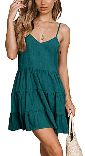 PinUp Angel Green Women Sleeveless Cotton Cami Dress V Neck Loose Flowy Swing Shift Dresses