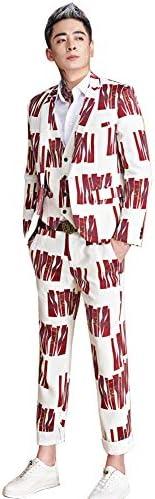 メンズ 演出服 舞台ステージ衣装 プリント スタイリッシュスーツ ジャケット 上下セット アイドル パーティー 通勤 司会者 カラオケ 結婚式 貴公子 貴族 忘年会 新年会 学園祭 キャバクラ 大きいサイズ M~5XL (ジャケットのみ, 5XL)