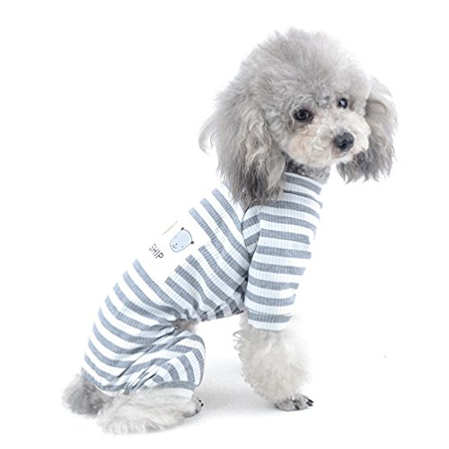 SELMAI Stripe Outfits for Small Dog Pet Cotton Pajamas Doggie Jumpsuit Yorkie Puppy Clothes Grey S (Dog Pajamas Breed)