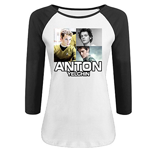 CALZ Girls Anton Yelchin Photo 3/4 Sleeve 100% Cotton T Shirts M Black (Parker Terminator)