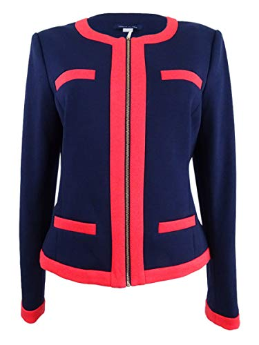 Tommy Hilfiger Women's Zip-Up Contrast-Trim Blazer (12, Midnight/Chili)
