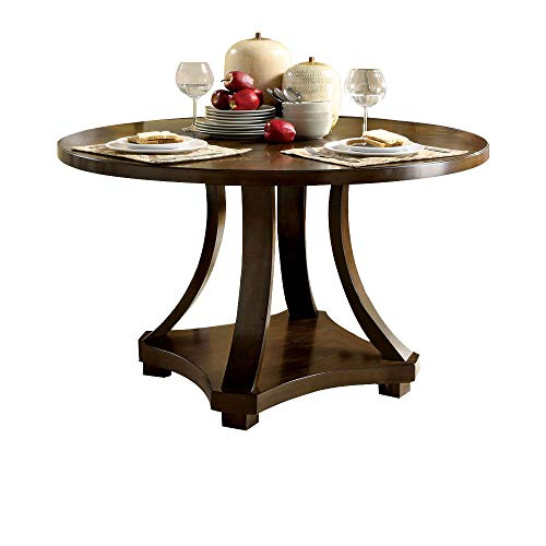 Pedestal Table 48in Round Top - Benzara BM169032 Transitional Round Dining Table, Brown