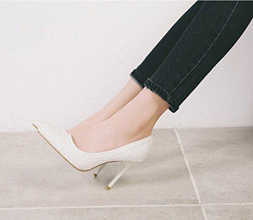 Era Estilo Blanco Y Moda La Mujer Profunda Alto Xiaoqi Acentuados Poco Zapatos Americano Boca Tacones Finos Discotecas Europeo De Tacón Lentejuelas Delgada Mujeres wBWZ6IqE