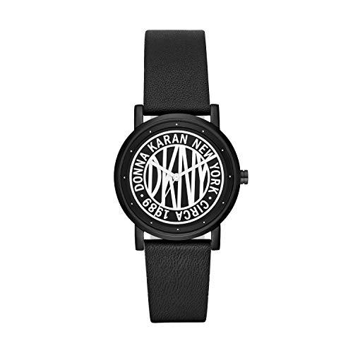 DKNY Women Soho Quartz Leather Black with Black White Dial Watch NY2765