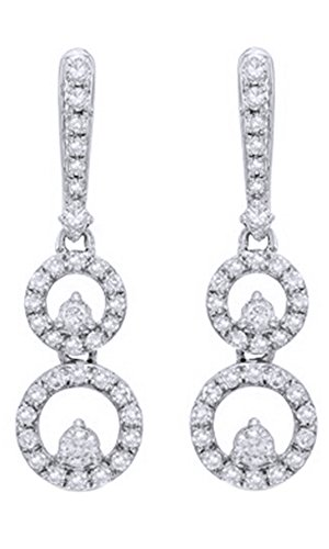 (10K Solid White Gold Natural Diamond Double Circle Drop Earrings (1/2 Ct))