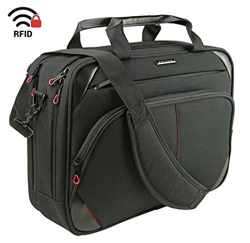 KROSER Laptop Bag 15.6 Inch Laptop Briefcase Laptop Messenger Bag Water Repellent Computer Case Laptop Shoulder Bag Durable Tablet Sleeve with RFID Pockets for Business/College/Women/Men-Black/Red