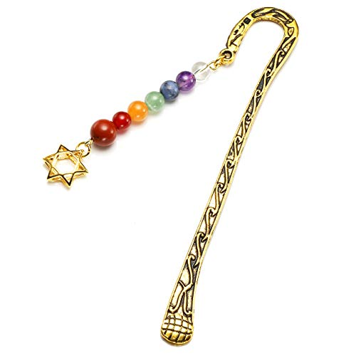 Top Plaza Metal Bookmarks Unique Religious Hook Bookmark with 7 Chakra Stone Healing Crystal Beads Star of David Pendant for Women - Bookmark Crystal