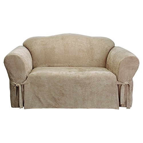 Sure Fit Soft Suede 1-Piece  - Sofa Slipcover  - Taupe (SF43217)