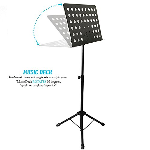 kruzco portable music stand for sheet holder black bassist hq. Black Bedroom Furniture Sets. Home Design Ideas
