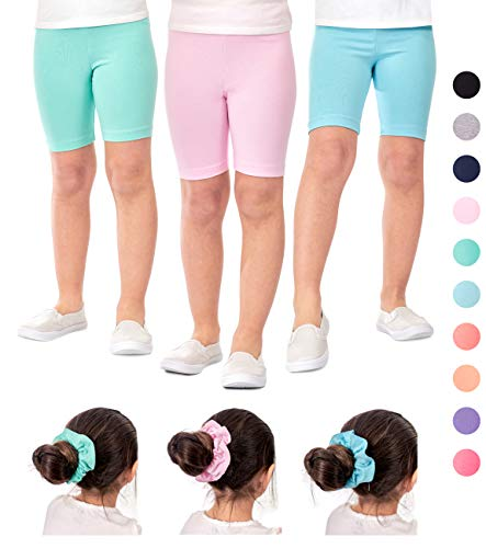 DEAR SPARKLE Girls Bike Shorts 3 Pack Cotton Solid Colors + Matching Hair Ties | Cheer Dance Gymnastic Ballet Shorts Sizes 3-10 (G3) (SkyBlue/Pink/Mint, 4-5)