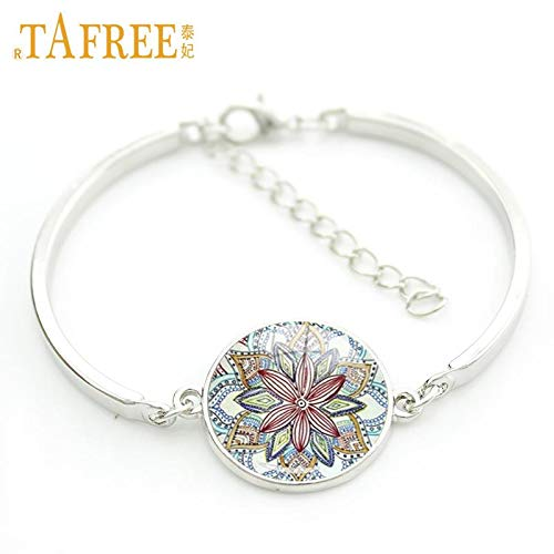Glass Cabochon Alloy Metal Bracelet Mandala Flower Pendant Charms Silver Plated Indian Bracelet Om Yoga Hand Chain Jewelry Bracelets & Bangles Jewelry & Accessories