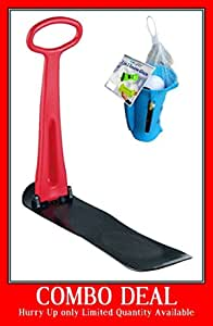 e-joy Kids Snow Scooter Ski Scooter Fold-up Snowboard Sledge Folding Sliding Ski Snowboard with Grip Handle Snow Sled, Winter Toys for Use on Snow and Grass
