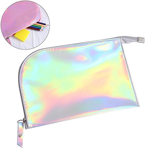 2018 New fashion creative portable waterproof laser pen color stationery Pencil bag cosmetic bag simple girl bag large student short square wallet Focus Cosmetic bag storage bag (Silvery)