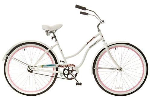 Titan Women's Docksider Single Speed Beach Cruiser Bicycle with Pink Wheels, 26 x 17-Inch, White