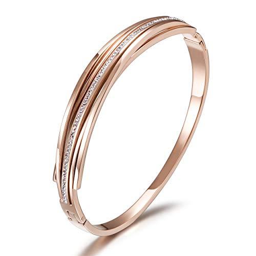 CIUNOFOR CZ Bracelet for Women Girls Cross Line Bracelet Italian Style Buckle Cuff Bangle Silver Gold Rose Gold Plated Stainless Steel Bracelet