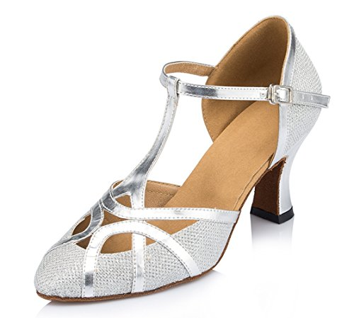 TDA Womens Mid Heel Silver PU Leather Salsa Tango Ballroom Latin Party Dance Shoes CM101 10 M US