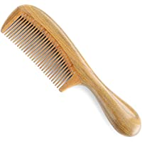 Onedor Handmade 100% Natural Green Sandalwood Hair Comb (Fine Tooth)