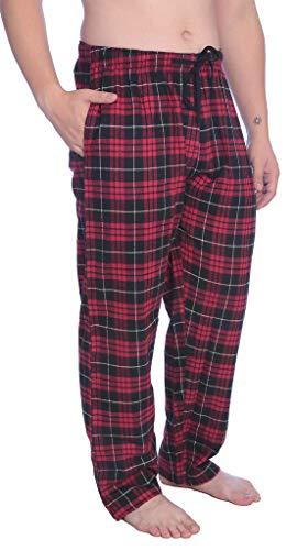 Black Plaid Flannel Pants - #A_Men's 100% Cotton Flannel Plaid Lounge PantsAvailable in Plus Size MFP_Y18 Red/Black 1X