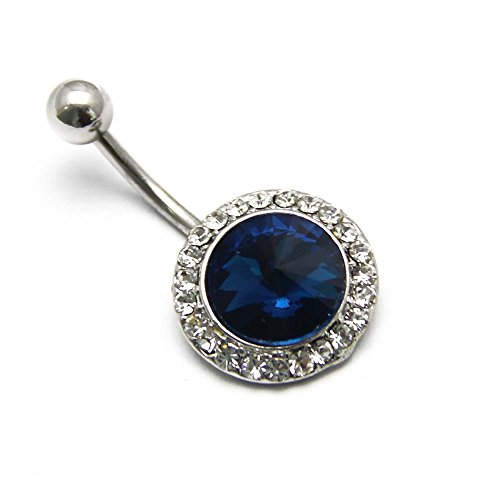 - BODYA Large Blue Bezel Aurora Gem Flower Cz Crystal Curved Barbell Belly Button Navel Ring Bar Piericng