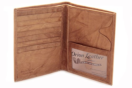 Mens Euro Hipster Wallet Bifold Passport Cover Embossed Genuine Leather Brown