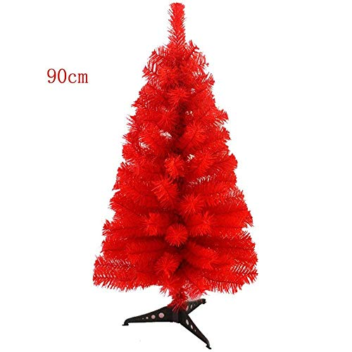 Prettybuy Christmas Tree with Plastic Stand,3-feet,PVC (Red)