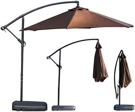 Outdoor Large Umbrella, Aluminum Cantilever Umbrella Outdooor Patio Tilt U0026  Crank Round Umbrella (Coffee) : Garden U0026 Outdoor