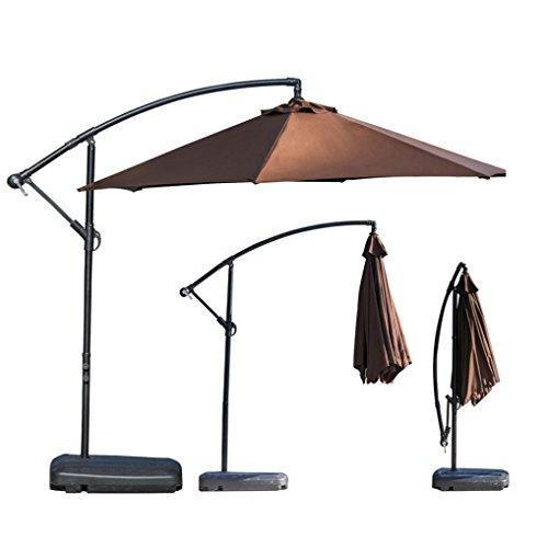Nacome Clearance Sale!Outdoor Large Umbrella, Aluminum Cantilever Umbrella Outdooor Patio Tilt & Crank Round Umbrella (Coffee)