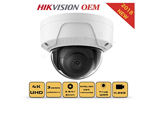 Cheap 4K PoE Security IP Camera – Compatible as Hikvision DS-2CD2185FWD-I UltraHD 8MP Dome Onvif IR Night Vision Weatherproof WideAngle 2.8mmLens SD Card Best for Home and Business Security 3 Year Warranty
