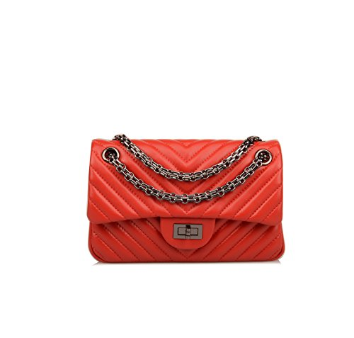 On Bag Wallet Sheepskin Chain Red Genuine Leather Ainifeel Purse Crossbody Clearance V Quilted Women's Strap vqanHC1x