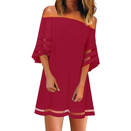 Womens Dresses Summer 3/4 Bell Sleeve Off Shoulder Mesh Panel Blouse Casual Loose Wedding Guests T Shirt Dress Red