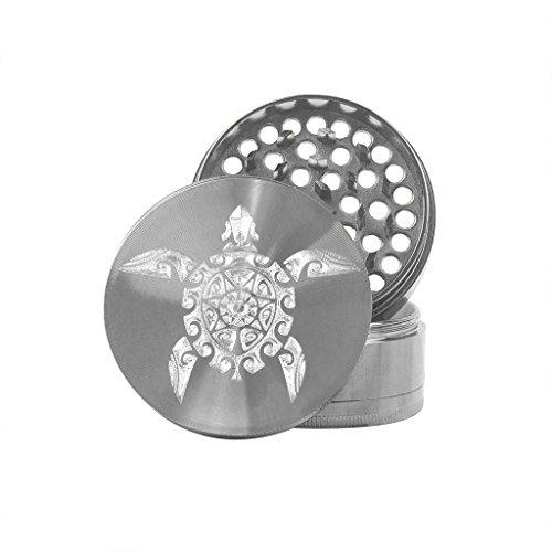 Hakuna Supply Premium Gunmetal Hand Grinder - 4 Pc. Rotary Engraved Hakuna Sharp Shredder (Sea Turtle) ()