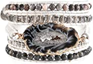 YGLINE Handmade Wrap Bracelet Turquoise, Jasper & Amazonite Natural Stones Leather Charm 5 Strands Boho Br