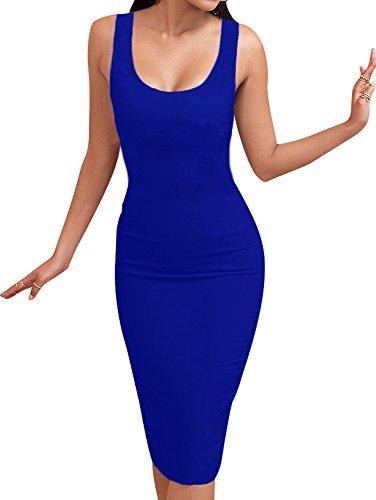 Scoop Long Blue Tank Royal Club Neck BEAGIMEG Dress Bodycon Casual Sleeveless Women's apqOg1