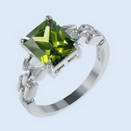 (jacob alex ring Ring Size 9 Green Peridot Zircon Women's 10Kt White Gold Filled Wedding)