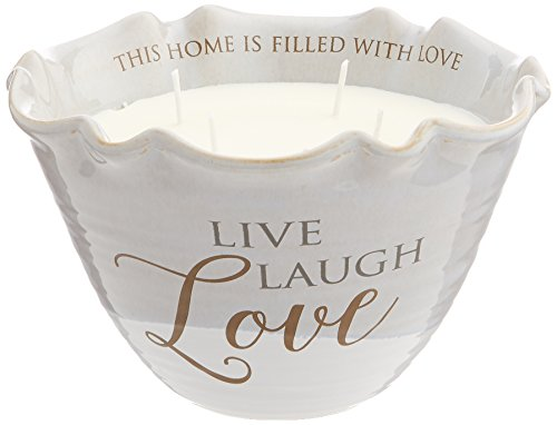 Pavilion Gift Company Live Laugh Love 4 Wick Ceramic Tranquility Scented Candle