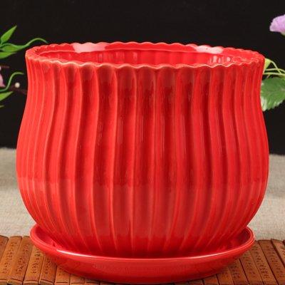 Ceramic Round Stripe Design Flower Planter Pot, Pure Red Color, Perfect Wedding Gift