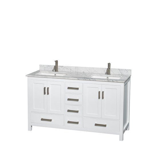 Wyndham Collection Sheffield 60 inch Double Bathroom Vanity in White, White Carrara -