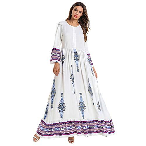 HYIRI Women's National Robe Leisure Muslim Middle Eastern Long Dress White