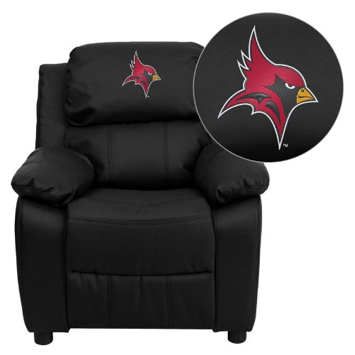 Flash Furniture St. John Fisher College Cardinals Embroidered Black Leather Kids Recliner with Storage - Team Recliner Nba Home
