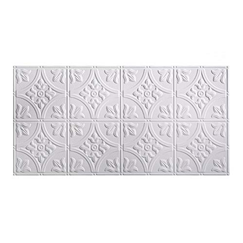 Fasade Easy Installation Traditional 2 Matte White Glue Up Ceiling Tile / Ceiling Panel (2' x 4' Panel) ()
