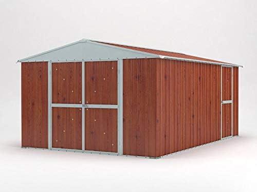 Einaudi - Caseta de jardín de chapa y madera para depósito de herramientas, 360 x 430 x 210 cm: Amazon.es: Jardín