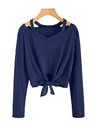 SweatyRocks - Blusa Informal de Manga Larga con Corbata para Mujer, Azul Marino#1, XL